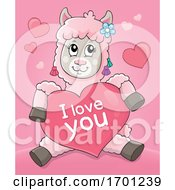 Poster, Art Print Of Valentine Llama