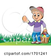 Poster, Art Print Of Boy Holding An Easter Egg