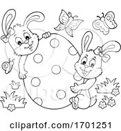 Poster, Art Print Of Easter Bunnies And Egg