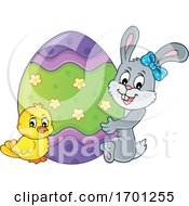 Poster, Art Print Of Easter Bunny Chick And Egg