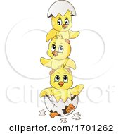 Stack Of Hatching Chicks And Eggshell