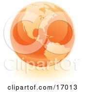 Orange Shiny Marble Of The American Continents Of The Planet Earth Clipart Illustration