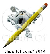 Technology Clipart Illustration Image Of A Robotic Webcam Carrying A Pencil by Leo Blanchette