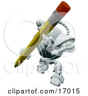 Technology Clipart Illustration Image Of A Robotic Webcam Writing With A Pencil by Leo Blanchette