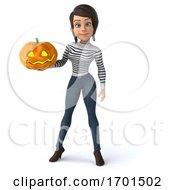 3d Breton Woman On A White Background