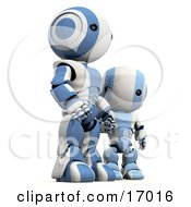 Blue And White Robot Holding Hands And Standing With His Son Clipart Illustration