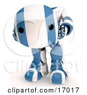 Blue And White Robot Holding His Own Head In His Hands