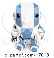 Blue And White Robot Looking Upwards In Curiousity