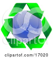 Clockwise Triangle Of Green Arrows Circling The Blue Planet Earth Symbolizing Recycling Or Renewable Energy Clipart Illustration