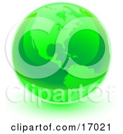 Green Shiny Marble Of The American Continents Of The Planet Earth Clipart Illustration