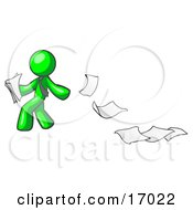 Lime Green Man Dropping White Sheets Of Paper On A Ground And Leaving A Paper Trail Symbolizing Waste Clipart Illustration