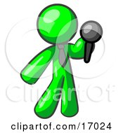 Lime Green Man A Comedian Or Vocalist Wearing A Tie Standing On Stage And Holding A Microphone While Singing Karaoke Or Telling Jokes Clipart Illustration
