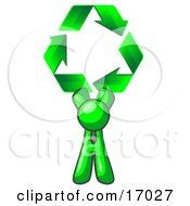 Lime Green Man Holding Up Three Green Arrows Forming A Triangle And Moving In A Clockwise Motion Symbolizing Renewable Energy And Recycling