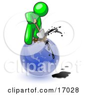 Lime Green Man Using A Shovel To Drill Oil Out Of Planet Earth Clipart Illustration