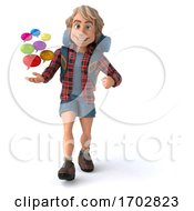 3d Hiker On A White Background
