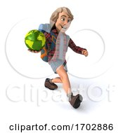 Poster, Art Print Of 3d Hiker On A White Background