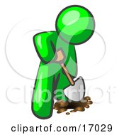 Lime Green Man Using A Shovel To Dig A Hole For A Plant In A Garden Clipart Illustration