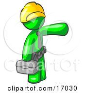 Lime Green Man A Construction Worker Handyman Or Electrician Wearing A Yellow Hardhat And Tool Belt And Carrying A Metal Toolbox While Pointing To The Right Clipart Illustration