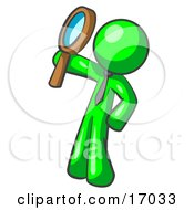Lime Green Man Holding Up A Magnifying Glass And Peering Through It While Investigating Or Researching Something Clipart Illustration