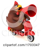 Poster, Art Print Of 3d Brown Chicken On A White Background