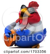 Poster, Art Print Of 3d French Chicken On A White Background