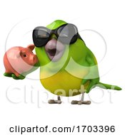 3d Green Bird On A White Background