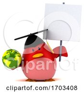 Poster, Art Print Of 3d Chubby Red Bird Graduate On A White Background
