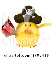 3d Yellow Bird Pirate On A White Background