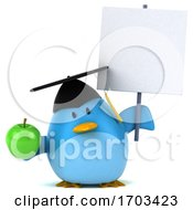 Poster, Art Print Of 3d Chubby Blue Bird Graduate On A White Background
