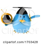 Poster, Art Print Of 3d Blue Bird On A White Background