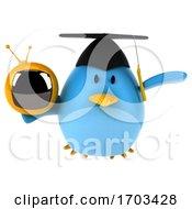 3d Blue Bird On A White Background