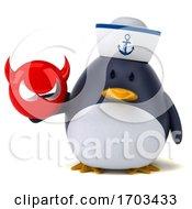 3d Sailor Penguin On A White Background