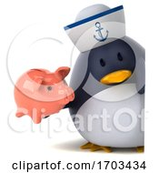3d Sailor Penguin On A White Background