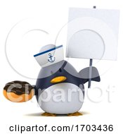 Poster, Art Print Of 3d Sailor Penguin On A White Background