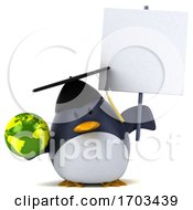 3d Chubby Penguin Graduate On A White Background