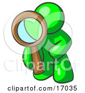 Lime Green Man Kneeling On One Knee To Look Closer At Something While Inspecting Or Investigating