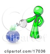 Lime Green Man Using A Watering Can To Water New Grass Growing On Planet Earth Symbolizing Someone Caring For The Environment