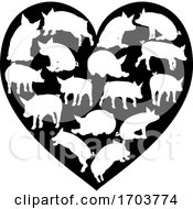 Poster, Art Print Of Pig Heart Silhouette Concept