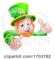 Poster, Art Print Of Leprechaun St Patricks Day Cartoon Thumbs Up Sign