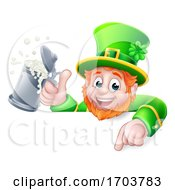Leprechaun St Patricks Day Pointing Drink Cartoon