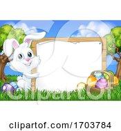 Easter Bunny Rabbit Eggs Sign Background Cartoon