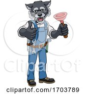 Poster, Art Print Of Wolf Plumber Cartoon Mascot Holding Plunger