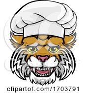 Poster, Art Print Of Wildcat Chef Mascot Cartoon Character