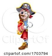 Pirate Captain Cartoon Peeking Sign Background