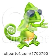 Chameleon Cool Shades Cartoon Lizard Character by AtStockIllustration