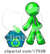 Lime Green Man Tossing A Plastic Container Into A Recycle Bin Symbolizing Someone Doing Their Part To Help The Environment And To Be Earth Friendly