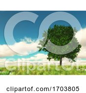 3D Countryside Landscape With Tree Against Blue Sky