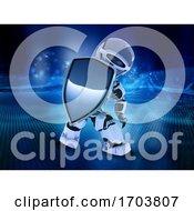 Poster, Art Print Of 3d Robot Holding Shield Depicting Digital Security