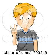 Kid Boy Sign Language Number Seven Illustration