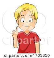 Kid Boy Hand Sign Language Number One Illustration